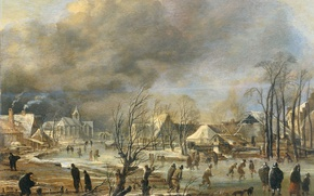Picture landscape, tree, oil, picture, Art van der NEER, Village on a Frozen Canal in a …