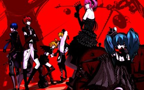 Picture anime, art, Vocaloid, Vocaloid, red background, characters