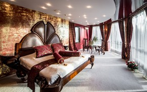 Picture design, bed, curtains, mansion, luxury, bedroom