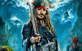 Picture sea, Johnny Depp, ships, hat, fantasy, captain, Johnny Depp, sharks, Jack Sparrow, Pirates of the ...