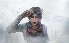 Wallpaper girl, snow, the game, glasses, game, adventure, quest, quest, Kate Walker, Syberia 3, Kate Walker, ...
