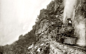 Picture retro, rocks, train, the engine, USA, 1890-the year