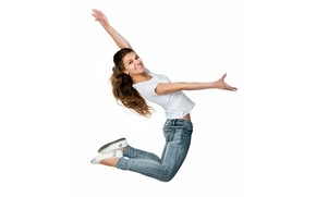 Picture girl, smile, jump