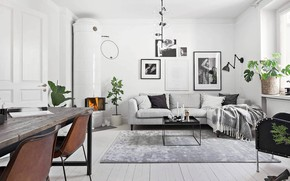 Picture interior, fireplace, living room, dining room, Scandinavian style, Apartment in Stockholm, by Deco STHLM