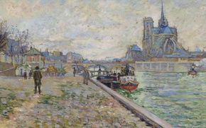 Picture river, picture, Hay, Cathedral, the urban landscape, Paul Signac, Paris. Quay Of The Tournelle