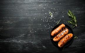 Picture grass, salt, Sausage, Grill