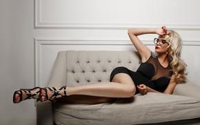 Wallpaper dress, feet, Alexander Sasin, glasses, Marina, curls, model, hand, sofa, pose