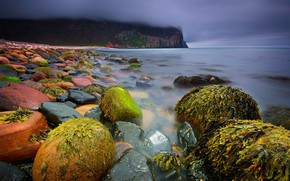 Picture beach, sky, sea, landscape, nature, water, clouds, island, Scotland, stones, United Kingdom, mist, cliff, seaweed