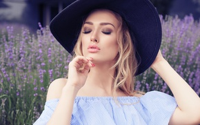 Picture girl, pose, eyelashes, hands, makeup, blonde, hat, lavender