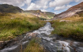 Picture landscape, mountains, stream, Wales