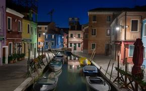 Picture night, boat, home, Italy, Venice, channel, Burano island