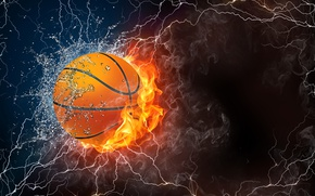 Picture water, light, darkness, fire, lightning, the ball, Abstraction, basketball
