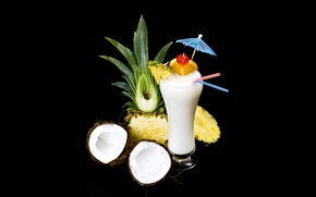 Picture white, glass, umbrella, cocktail, fruit, black background, tube, pineapples, coconuts