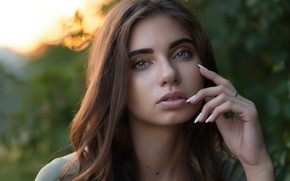 Picture look, girl, reverie, background, portrait, makeup, hairstyle, brown hair, beautiful, bokeh