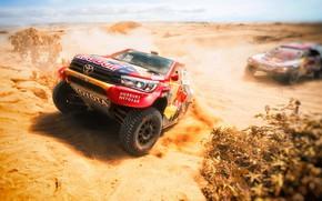 Picture Sand, Auto, Sport, Machine, Peugeot, Toyota, Red Bull, Hilux, Rally, Dakar, Dakar, SUV, Rally, Sport, …