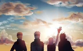 Picture the sun, dawn, morning, Naruto, team 7, Uchiha Sasuke, Hatake Kakashi, Haruno Sakura, Uzumaki Naruto, …