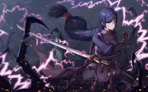Picture energy, girl, sword, anime, art, Berserker, Fate / Grand Order