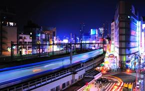 Wallpaper night, lights, crossroads, Tokyo, Japan, Ueno
