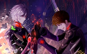 Picture art, guys, two, tears, drama, Evangelion