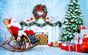 Picture Chair, New Year, Tree, fireplace, garland, Santa Claus, Holidays, Gifts, logs