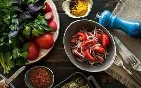 Picture greens, vegetables, garnet, salad
