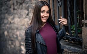Picture smile, house, model, portrait, makeup, window, jacket, hairstyle, black, brown hair, grille, jacket, bokeh, Lenka, ...