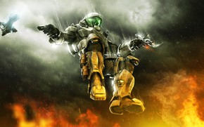 Picture gun, pistol, Halo, game, soldier, weapon, suit, Halo 3, Halo 3 ODST 2