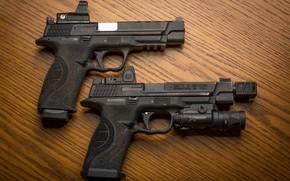 Wallpaper pair, guns, background