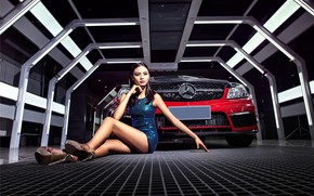 Picture look, Girls, Mercedes, Asian, beautiful girl, red car, sitting on the machine