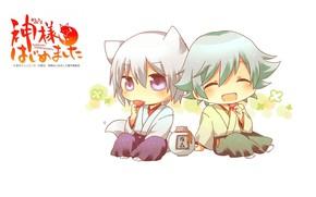 Picture stay, bottle, white background, ears, Japanese clothing, sitting, big eyes, Kamisaa The Hajimemashita, Tomoe, Very …
