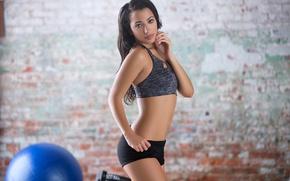 Picture look, sexy, brunette, shorts, t-shirt, figure, gym, Lexi Storm