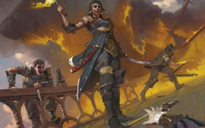 Picture fire, deck, Magic The Gathering, Ixalan, Angraths Marauders