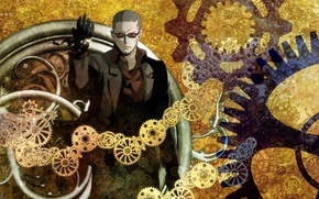 Picture anime, man, gears, time, suit, clock, japanese, hours, Clockwork Planet