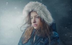 Picture winter, girl, snow, jacket, hood, fur