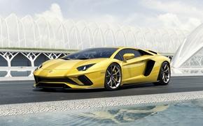 Picture Lamborghini, Yellow, Aventador, Supercar, Cut, 2017, S