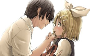 Picture girl, art, guy, two, Vocaloid, Vocaloid