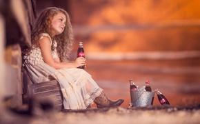 Wallpaper dress, Coca-Cola, bottle, curls, mood, redhead, bokeh, Coca-Cola, bucket, red, girl