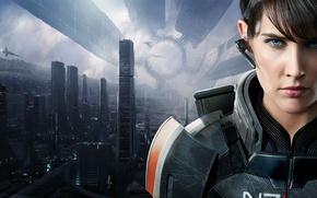 Wallpaper shepard, Mass Effect, art, N7 Armor, Citadel, space station, Cobie Smulders, Cobie Smulders