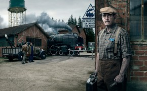 Picture retro, France, depot, working, locomotive, male, Citroen, Stories