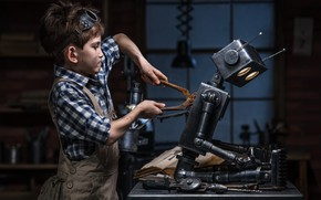 Wallpaper sci fi, child, imagination, robot