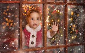 Picture mood, holiday, window, frost, New year, child, little Santa