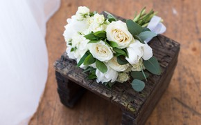 Picture white, bouquet, Roses, buds