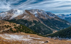 Picture forest, the sky, clouds, snow, trees, mountains, panorama, gorge, USA, Colorado