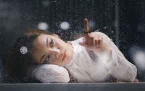 Picture window, female, thoughtful, Water drops