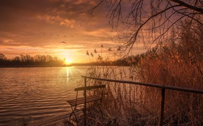 Picture sunset, lake, the sun