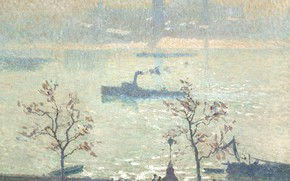 Picture landscape, river, ship, picture, Emile Claus, Emile Claus, View of the Thames from the Embankment