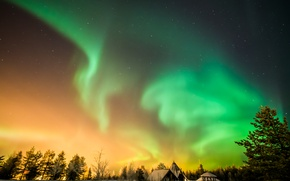 Picture winter, stars, beauty, Northern lights