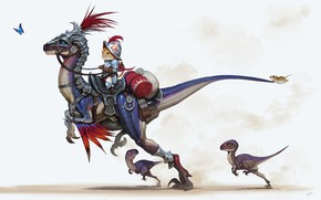 Picture cat, butterfly, dinosaur, mouse, fantasy, knight, children's, Riding, Dinos, Daejun Park (Gae Go)