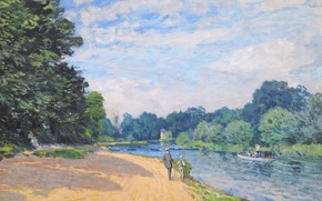Picture landscape, picture, Alfred Sisley, Alfred Sisley, Thames and HAMPTON court