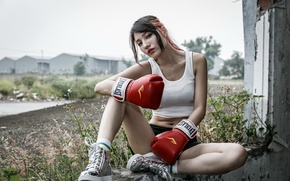 Wallpaper girl, sport, Boxing